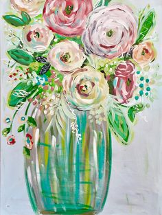 Original painting fine art floral painting EXTRA large 30x40 painting colorful floral art abstract floral canvas art FREE SHIPPING