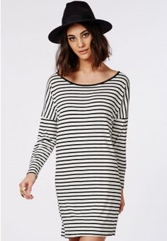 Long Sleeve Oversized T-Shirt Dress Monochrome Stripe