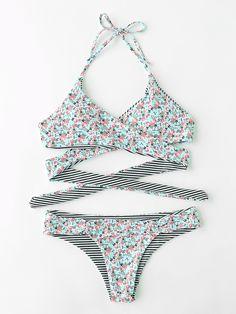 ¡Cómpralo ya!. Calico Print Wrap Bikini Set. Blue Bikinis Sexy Vacation Halter Top Polyester YES Floral Swimwear. , bikini, bikini, biquini, conjuntosdebikinis, twopiece, bikini, bikini, bikini, bikini, bikinis. Bikini de mujer de SheIn.