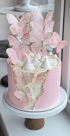 Butterfly Birthday Cakes, 8th Birthday Cake, Elegant Birthday Cakes, Beautiful Birthday Cakes, Butterfly Cakes, Birthday Cake Pictures, Pink Butterfly, Boy Birthday, Cake Decorating Frosting