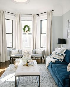 Modern Living Room Decorating Ideas Curtains New 42 Blue Curtain Designs Living Room Blue Living Room with Indigo Curtains Decorating Bay Window Living Room, New Living Room, Formal Living Rooms, Living Room Sofa, Apartment Living, Living Room Decor, Usa Living, Blinds In Living Room, Dining Room