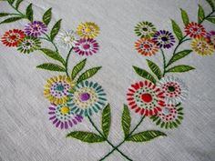 Flowers in a Row Embroidery Design Embroidery Flowers Pattern, Simple Embroidery, Hand Embroidery Stitches, Hand Embroidery Designs, Embroidery Techniques, Ribbon Embroidery, Embroidery Art, Sewing Art, Needlework