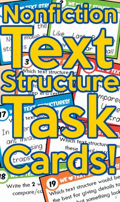 Non Fiction Text Structure Task Cards! Cornell Notes Template, Text Structures, Poetry Unit, Class Library, Elementary Teacher, Student Teacher, Middle School Writing, Cause And Effect, Compare And Contrast