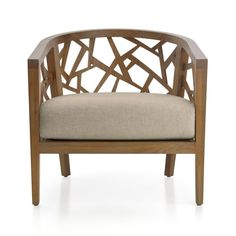 Ankara Grey Wash Frame Chair with Fabric Cushion | Crate and Barrel