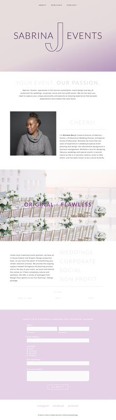 Sabrina J Events Squarespace Website by Roushelle Reign Reign, Brand Identity, Events, Website, Happenings