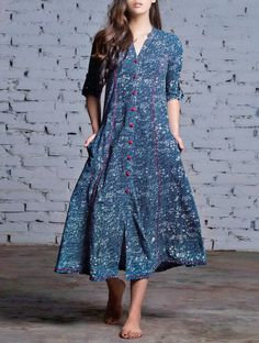 Indigo-Red Button Down Natural Dyed Block Printed Cotton Dress