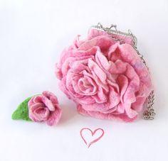 Felted handbag flower Pink Rosa flower by galafilc on Etsy, $79.00