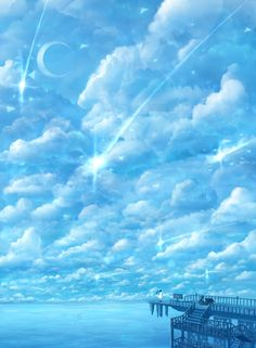 Pretty painting idea, clouds, moon, stars water and pier.