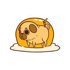Puglie Egg Hand & Bath Towel by Puglie Pug - Hand Towel Pug Kawaii, Cute Kawaii Animals, Cute Animal Drawings, Kawaii Drawings, Cute Drawings, Kawaii Doodles, Cute Doodles, Pug Wallpaper, Pug Cartoon