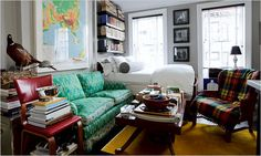 Zach Motl's tiny studio apartment in Clinton Hill, Brooklyn. His style is like early Trovota. The bed lifts up to reveal storage. The coffee table folds out. Story by Penelope Green, photo by Robert Wright, New York Times. New York Studio Apartment, Tiny Studio Apartments, Micro Apartment, New York Apartments, Apartment Living, Apartment Design, Apartment Ideas, Apartment Therapy, Nyc Studio