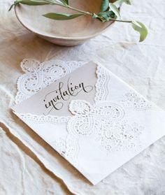 Great doily idea for wedding invitation