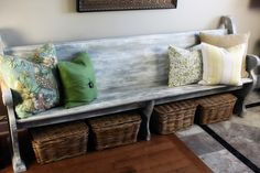 love the idea of an old church pew used as a bench.. For entry way.