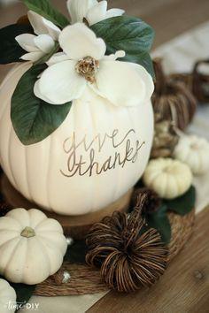 DIY Faux Magnolia Pumpkin   Such a cute fall pumpkin home decor craft! Love this hello fall pumpkin decor! Cute fall decor!