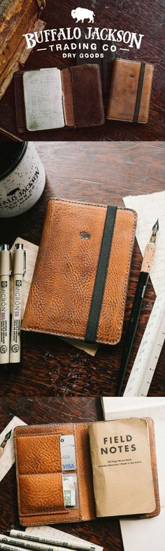 The Dakota vintage leather field notes wallet / cover. Outfitted with an elastic strap to keep your journal and its contents snug. Creative gift for him - for work or travel, business or adventure. Available in saddle tan, brown, and black.