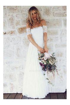 Light gray scoop neckline dress Design by L/'Amei 2016 Custom made Vintage Silk chiffon Bridal BohoBeach  Fairy Wedding Dress MX19833930