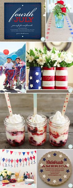 Red/white/blue mason jars+kite banner