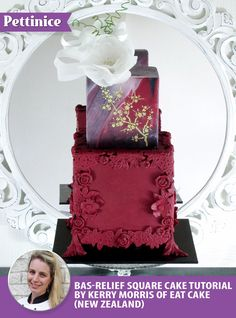 Cake tutorial for simple bas-relief design on a burgundy square cake by Kerry Morris of Eat Cake (New Zealand)
