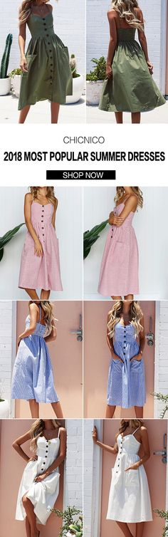 $32.99 2018 Spring Chicnico Fashion Summer Strapless Solid Color Button Front Braced Dress