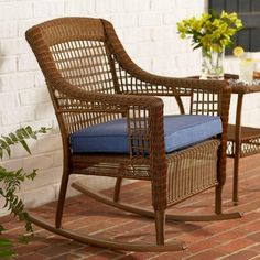 Relax in comfort and style with this wicker patio rocking chair. It's perfect for your patio, porch or sunroom. This chair combines a sturdy rust-resistant steel frame with all-weather resin for seasons of outdoor use. It comes with a Sky Blue woven olefin cushion. This rocking chair coordinates with other pieces in the Spring Haven Collection to give your patio a full makeover.