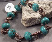 Hand Forged Copper and Turquoise Bracelet by Monaslampwork - Hand Forged Copper Findings Turquoise Beads Boho Organic Gypsy