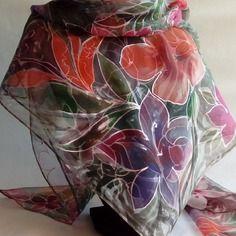 """Foulard écharpe en mousseline de soie peint main """" après la pluie... """""""