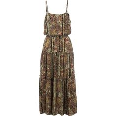 Free People Valerie Printed Maxi Dress ($104) ❤ liked on Polyvore featuring dresses, rayon maxi dress, loose fitting dresses, maxi dresses, pattern dress and brown maxi dress