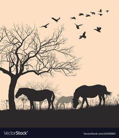 Horses on sunset background vector image on VectorStock Horse Silhouette, Sunset Background, Adobe Illustrator, Vector Free, Moose Art, Horses, Graphic Design, Illustration, Artwork