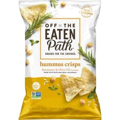Packaging snack - Off The Eaten Path Rosemary and Olive Oil Hummus Crisps 5 – Packaging snack Lays Flavors, Cereal Packaging, Chocolate Packaging, Coffee Packaging, Bottle Packaging, Olives, Snack Brands, Design Food, Design Design