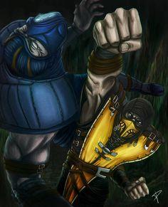 ScorpionVsSubZero by DarthPonda on DeviantArt Mortal Kombat Comics, Mortal Kombat Xl, Scorpion Mortal Kombat, Noob Saibot, Ninja Art, Fantasy Life, Chicano Art, Lego Movie 2, Cultura Pop