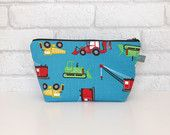 Kid's Wash Bag / Toiletry Bag with waterproof lining - Construction vehicles