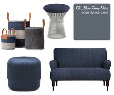 Looking for the ideal neutral or a bold accent paint? Get inspired by these eight CIL shades — chosen by designer Sabrina Linn — and the on-trend furniture and accessories that work with each. Grey Slate, Dark Grey, Blue Grey, Affordable Furniture, Cool Furniture, Furniture Ideas, Colour Palettes, Colour Schemes, Cil Paint