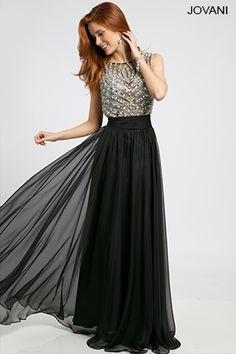 Jovani: I love this gown! It almost has a similar style to Anne Hathaway's Gucci gown she wore to the Oscar's 2014. Except Anne's had gold chain mail and the skirt wasn't chiffon. The idea is there!