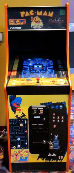 My local movie theater has a Pac-Man Galaga combo arcade cabinet. Used 2 oper -ate .ms pa man even better.both very very good money-makers Pac Man, Consoles, Modern Bar Cabinet, Borne Arcade, Arcade Room, Local Movies, Basement Remodeling, Basement Ideas, Retro Video Games