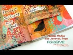 Mixed media art journal page packed with stencil layering, background techniques and a surprise page!