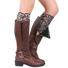 Leg Warmers Women Stretch Lace Crochet Boot Cuffs Elastic Anti-Chafing Thigh Bands Leg Warmers Chaussettes #2828