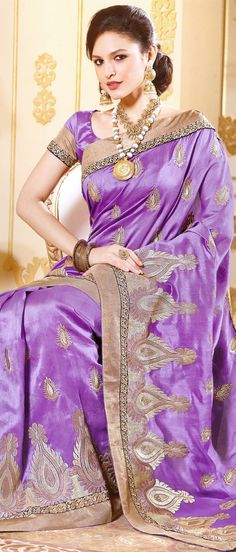 Lavender Art Tussar #Silk #Saree with Blouse @ $90.90