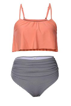 ceb4bf5daf Women's Clothing, Swimsuits & Cover Ups, Bikinis, Sets, Women's Ruffle Thin  Shoulder Straps High-Waisted Bikini Set Swimsuit - Orange -