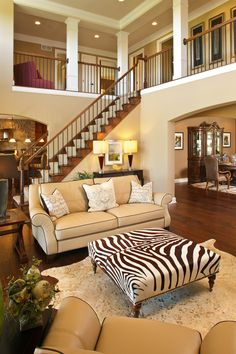 Open staircase and loft living room home decor, house design Open Staircase, Living Room Furniture Layout, Rooms Home Decor, Room Decor, Design Case, My Dream Home, Great Rooms, Home And Living, Living Spaces