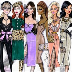 Hayden Williams Fashion Illustrations: Hayden Williams 2013 Lady in Waiting, Wild At Heart, Eye Spy, The Luxe Life, The Bombshell, & Fierce Creature