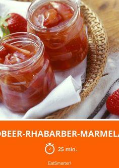 Erdbeer-Rhabarber-Marmelade - schnelles Rezept - einfaches Gericht - So gesund ist das Rezept: 6,6/10   Eine Rezeptidee von EAT SMARTER   Glutenfrei, Kalorienarm, Laktosefrei, Low fat 30, Ohne Alkohol, Vegan, Wenig Zucker, Bäuerlich, Bürgerlich, Für jeden Tag, Klassische-Rezepte, Ländlich, Süß, Einkochen, Konfitüre, Erdbeerkonfitüre, Rhabarber-Konfitüre, Erdbeermarmelade, Rhabarber-Marmelade, Obst, Brunch, Frühstück, Aufstrich, Süßes Frühstück #marmelade #rezepte