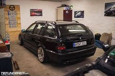 Black BMW e36 touring on cult classic BBS RF wheels