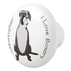 Boxer Dog Design Ceramic Knob - tap/click to personalize and buy #CeramicKnob #boxer #dog #dogs #boxers #design