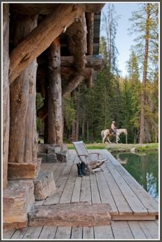 Tour a gorgeous rustic mountain cabin retreat in Big Sky This stunning rustic mountain cabin for a family of five was designed by Dan Joseph Architects, located in Headwaters Camp, Big Sky, Montana. Big Sky Montana, Cabins And Cottages, Log Cabins, Cabins In The Woods, Log Homes, Decks, The Great Outdoors, My Dream Home, Outdoor Living