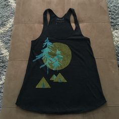 """Charcoal Camping Print Tank 14"""" bust, 24.5"""" long from top of strap to bottom of tank, adorned w adorable tents/moon/pine trees, 50% polyester/25% cotton/25% rayon, machine wash cold/dry low Maryink Tops Tank Tops"""