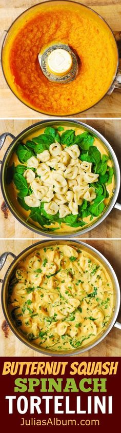 Creamy Butternut Squash and Spinach Tortellini -freshly made butternut squash puree and spiced up with lemon pepper, nutmeg and paprika!