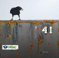 DUMPSTER DIVING XVII: SUCCESS - Raven Painting -Cristina Del Sol