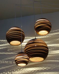 Love the light from these corrugated cardboard pendants (photo only)