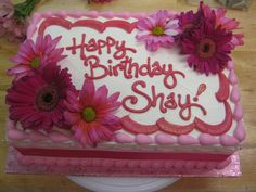 Pink Daisies woman;s birthday sheet cake.