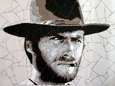 Clint Eastwood - Celebrity portraits made from hundreds of tiny tile fragments - Artist Ed Chapman Mosaic Art, Mosaic Glass, Stained Glass, Glass Art, Mosaic Projects, Mosaic Ideas, Mosaic Portrait, Marilyn Monroe Art, Mosaic Madness