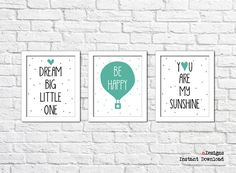 Printable Nursery Wall Art Set of Hot Air by eDesignss Bathroom Wall Decor, Nursery Wall Art, Wall Art Sets, I Am Happy, Kids Room, Printables, Frame, Handmade Gifts, Hot